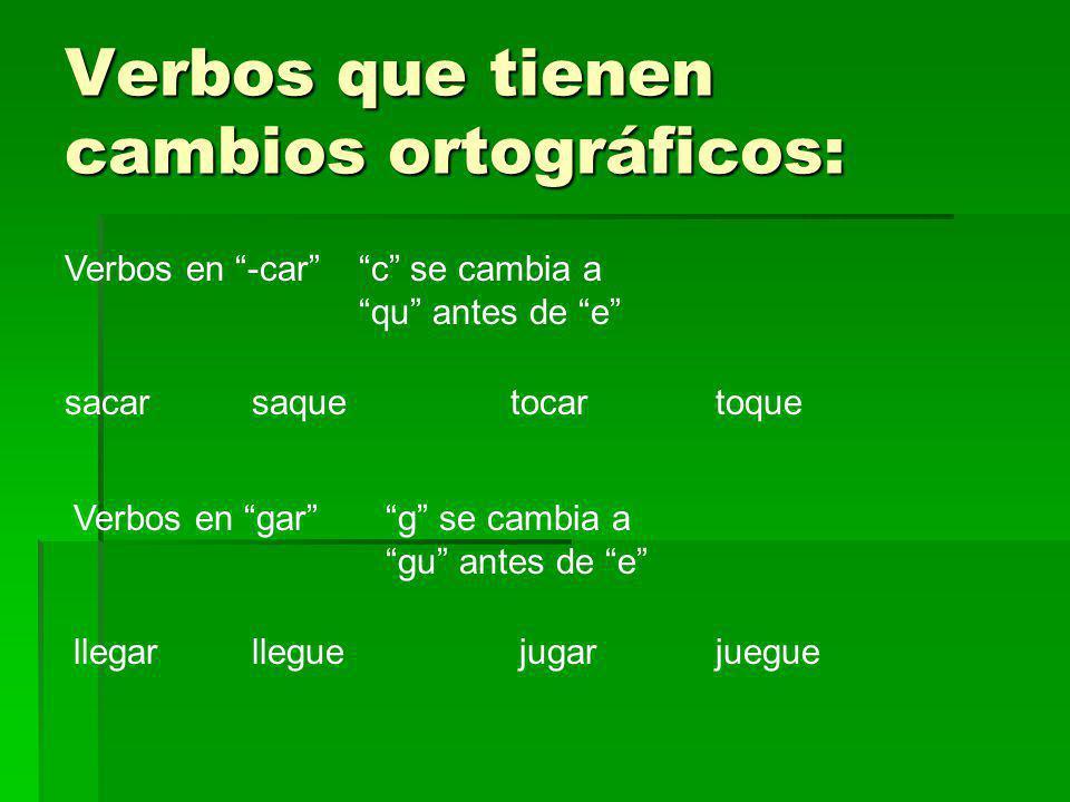 Verbos que tienen cambios ortográficos: Verbos en -carc se cambia a qu antes de e sacarsaquetocartoque Verbos en garg se cambia a gu antes de e llegar