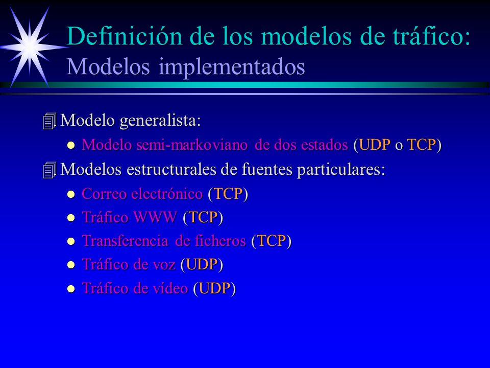 Definición de los modelos de tráfico: Modelos implementados 4Modelo generalista: l Modelo semi-markoviano de dos estados (UDP o TCP) 4Modelos estructurales de fuentes particulares: l Correo electrónico (TCP) l Tráfico WWW (TCP) l Transferencia de ficheros (TCP) l Tráfico de voz (UDP) l Tráfico de vídeo (UDP)