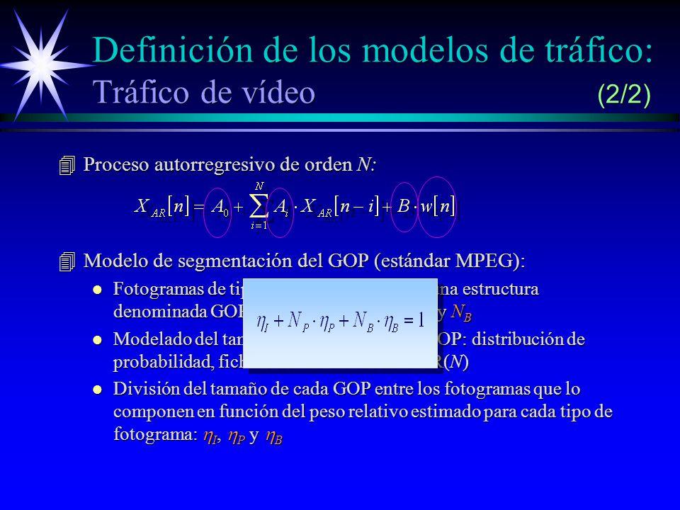 Definición de los modelos de tráfico: Tráfico de vídeo (2/2) 4Proceso autorregresivo de orden N: 4Modelo de segmentación del GOP (estándar MPEG): l Fotogramas de tipo I, P y B agrupados en una estructura denominada GOP (Group Of Pictures): N P y N B l Modelado del tamaño de la secuencia de GOP: distribución de probabilidad, fichero de texto o modelo AR(N) División del tamaño de cada GOP entre los fotogramas que lo componen en función del peso relativo estimado para cada tipo de fotograma: I, P y B División del tamaño de cada GOP entre los fotogramas que lo componen en función del peso relativo estimado para cada tipo de fotograma: I, P y B
