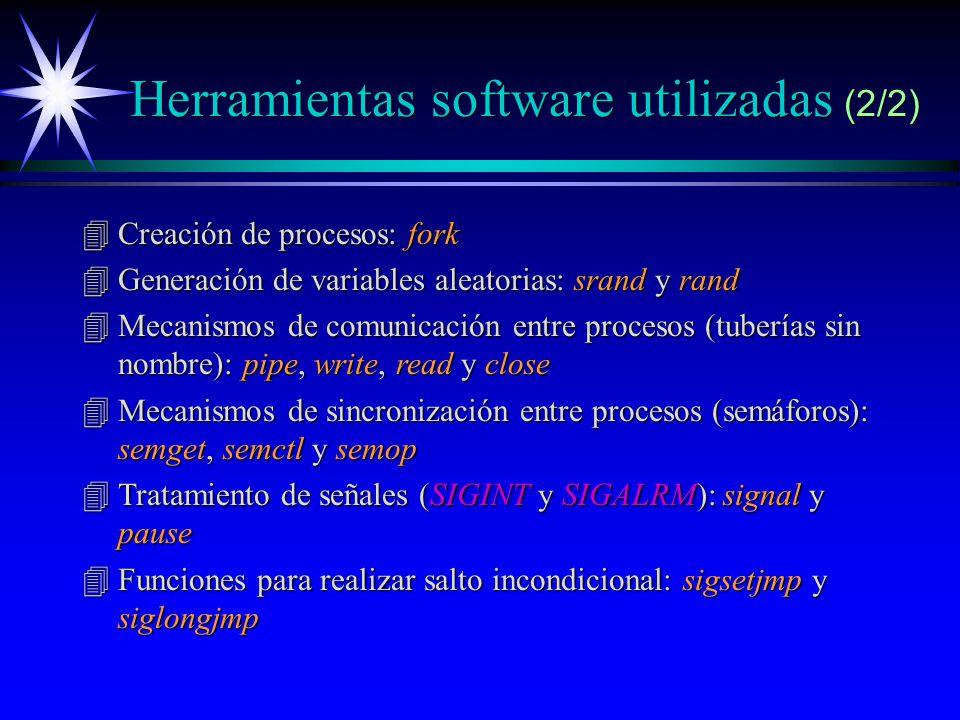 Herramientas software utilizadas (2/2) 4Creación de procesos: fork 4Generación de variables aleatorias: srand y rand 4Mecanismos de comunicación entre procesos (tuberías sin nombre): pipe, write, read y close 4Mecanismos de sincronización entre procesos (semáforos): semget, semctl y semop 4Tratamiento de señales (SIGINT y SIGALRM): signal y pause 4Funciones para realizar salto incondicional: sigsetjmp y siglongjmp