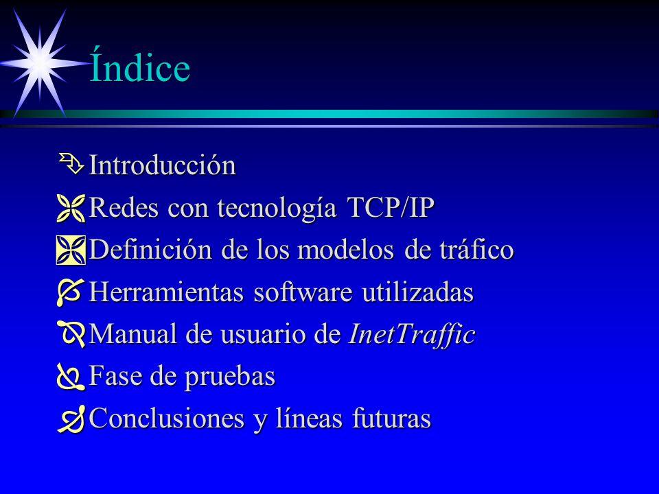 Índice Ê Introducción Ë Redes con tecnología TCP/IP Ì Definición de los modelos de tráfico Í Herramientas software utilizadas Î Manual de usuario de InetTraffic Ï Fase de pruebas Ð Conclusiones y líneas futuras