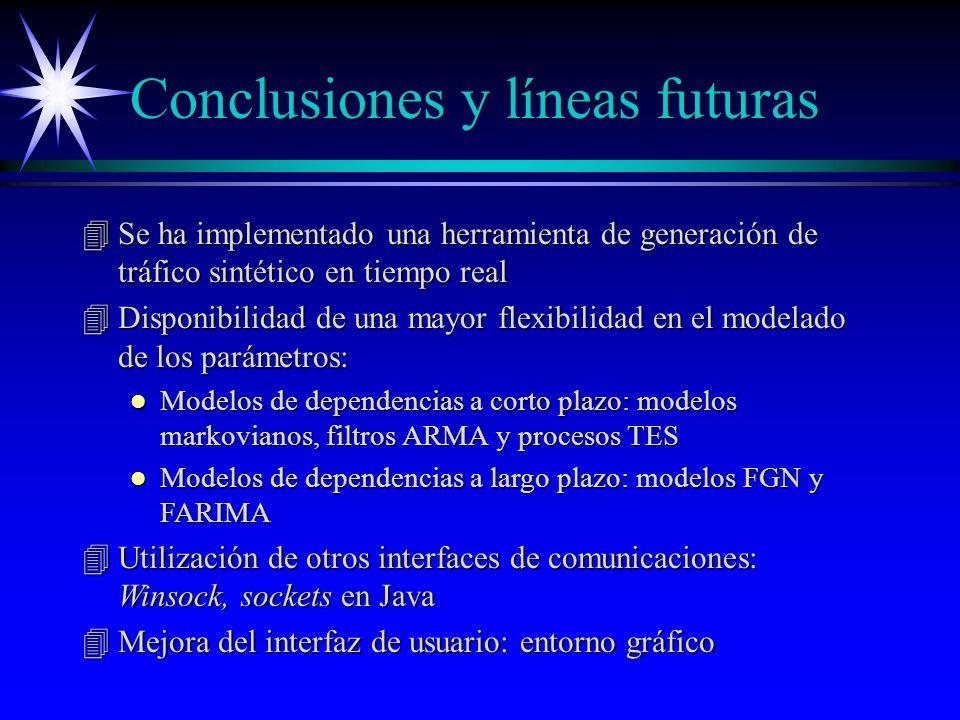Conclusiones y líneas futuras 4Se ha implementado una herramienta de generación de tráfico sintético en tiempo real 4Disponibilidad de una mayor flexibilidad en el modelado de los parámetros: l Modelos de dependencias a corto plazo: modelos markovianos, filtros ARMA y procesos TES l Modelos de dependencias a largo plazo: modelos FGN y FARIMA 4Utilización de otros interfaces de comunicaciones: Winsock, sockets en Java 4Mejora del interfaz de usuario: entorno gráfico