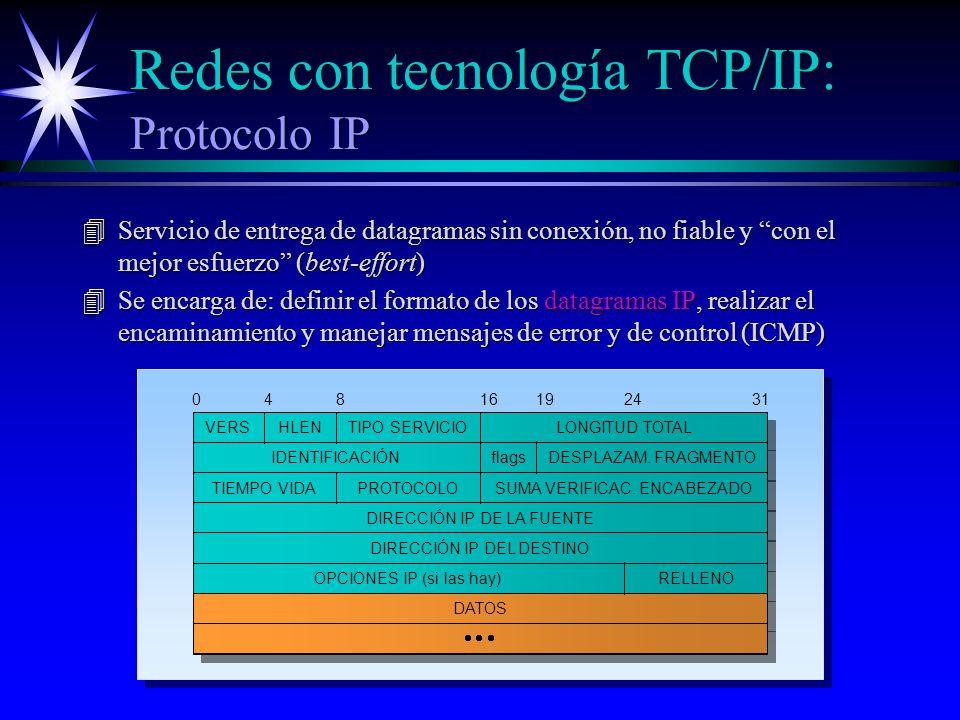 Redes con tecnología TCP/IP: Protocolo IP 4Servicio de entrega de datagramas sin conexión, no fiable y con el mejor esfuerzo (best-effort) 4Se encarga de: definir el formato de los datagramas IP, realizar el encaminamiento y manejar mensajes de error y de control (ICMP) VERSHLENTIPO SERVICIOLONGITUD TOTAL IDENTIFICACIÓNflagsDESPLAZAM.