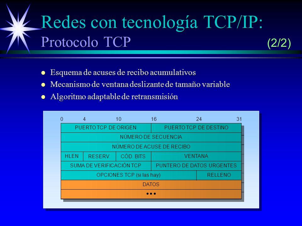 Redes con tecnología TCP/IP: Protocolo TCP (2/2) l Esquema de acuses de recibo acumulativos l Mecanismo de ventana deslizante de tamaño variable l Algoritmo adaptable de retransmisión HLEN PUERTO TCP DE DESTINO NÚMERO DE SECUENCIA NÚMERO DE ACUSE DE RECIBO OPCIONES TCP (si las hay)RELLENO DATOS 0410162431 PUERTO TCP DE ORIGEN RESERV.CÓD.