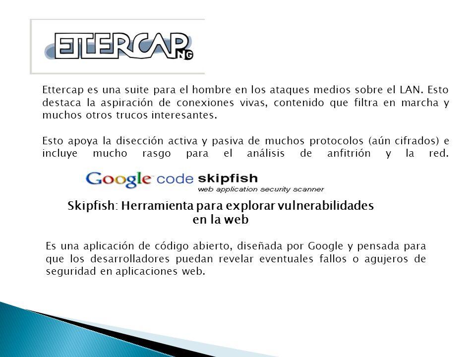 Ettercap es una suite para el hombre en los ataques medios sobre el LAN. Esto destaca la aspiración de conexiones vivas, contenido que filtra en march