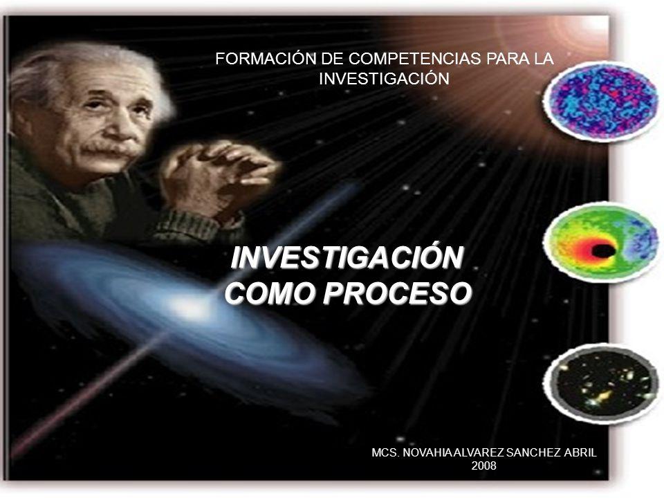 FORMACIÓN DE COMPETENCIAS PARA LA INVESTIGACIÓN INVESTIGACIÓN COMO PROCESO MCS. NOVAHIA ALVAREZ SANCHEZ ABRIL 2008
