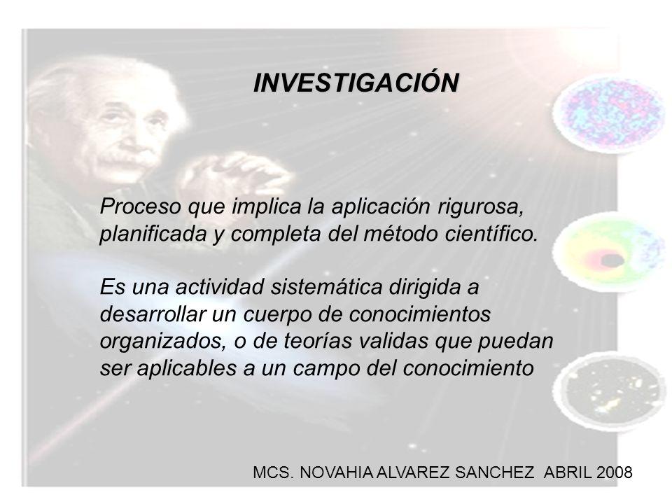 INVESTIGACIÓN Proceso que implica la aplicación rigurosa, planificada y completa del método científico. Es una actividad sistemática dirigida a desarr