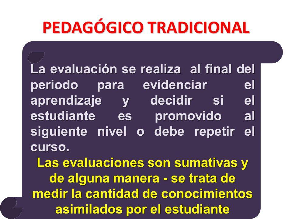 PEDAGÓGICO TRADICIONAL La evaluación se realiza al final del periodo para evidenciar el aprendizaje y decidir si el estudiante es promovido al siguiente nivel o debe repetir el curso.