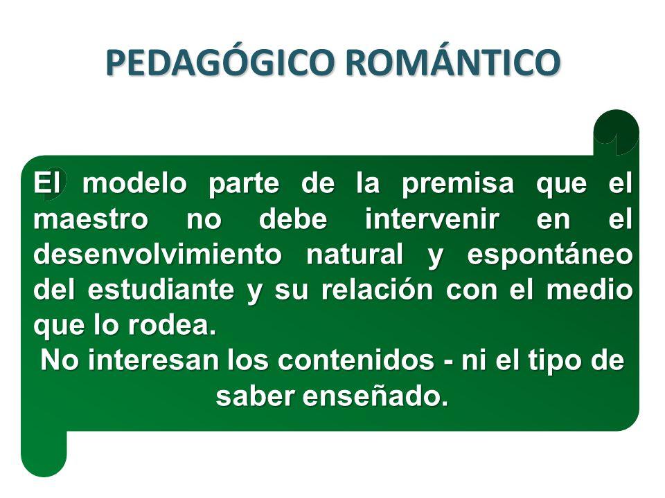PEDAGÓGICO ROMÁNTICO El modelo parte de la premisa que el maestro no debe intervenir en el desenvolvimiento natural y espontáneo del estudiante y su relación con el medio que lo rodea.