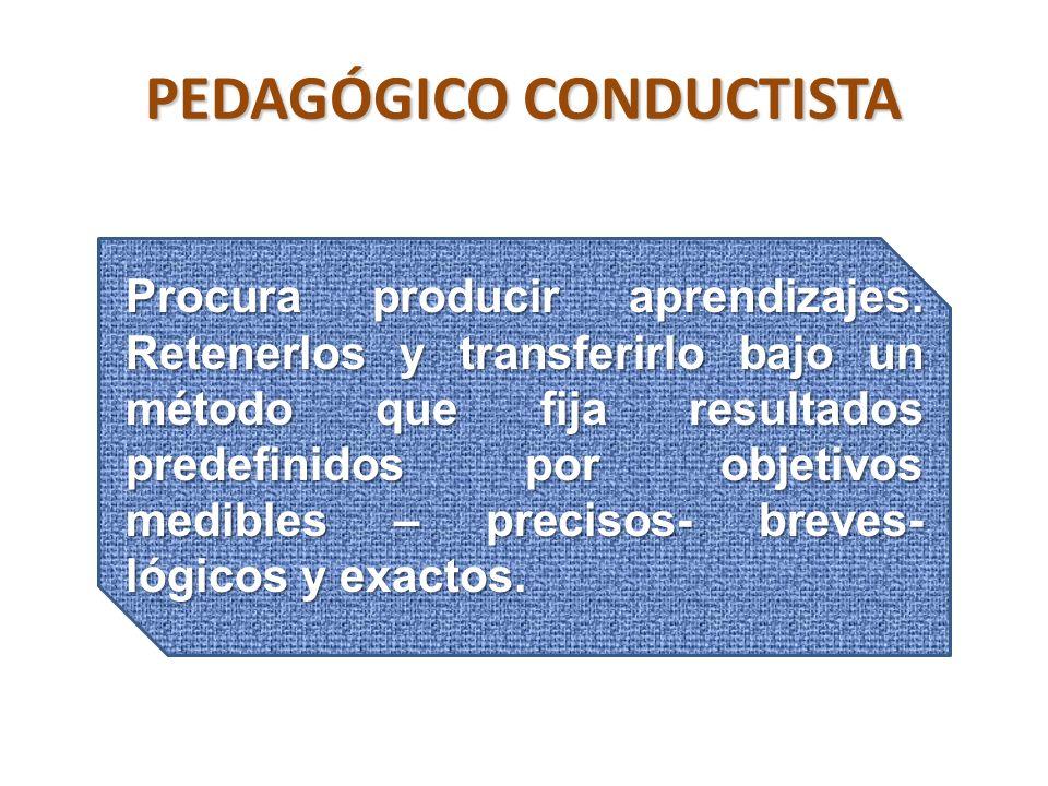PEDAGÓGICO CONDUCTISTA Procura producir aprendizajes. Retenerlos y transferirlo bajo un método que fija resultados predefinidos por objetivos medibles