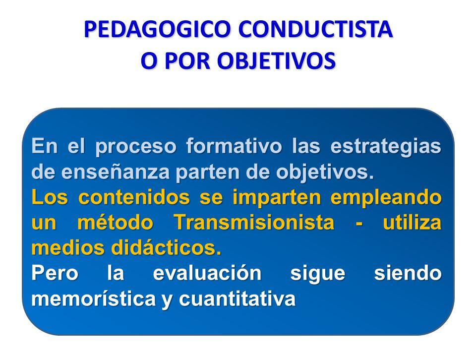 PEDAGOGICO CONDUCTISTA O POR OBJETIVOS En el proceso formativo las estrategias de enseñanza parten de objetivos. Los contenidos se imparten empleando