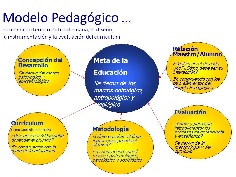 Meta de la Educación Se deriva de los marcos ontológico, antropológico y axiológico Concepción del Desarrollo Se deriva del marco psicológico y epistemológico Currículum Como síntesis de cultura ¿Qué enseñar?¿Qué debe aprender el alumno.