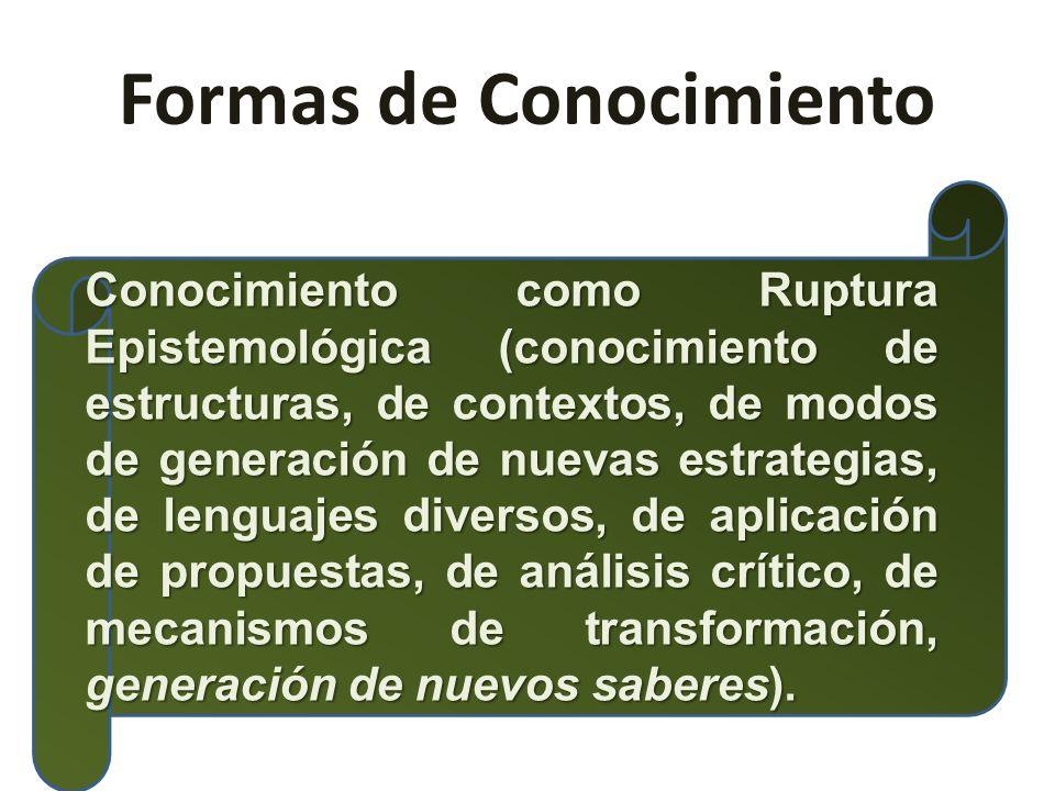 Formas de Conocimiento Conocimiento como Ruptura Epistemológica (conocimiento de estructuras, de contextos, de modos de generación de nuevas estrategias, de lenguajes diversos, de aplicación de propuestas, de análisis crítico, de mecanismos de transformación, generación de nuevos saberes).