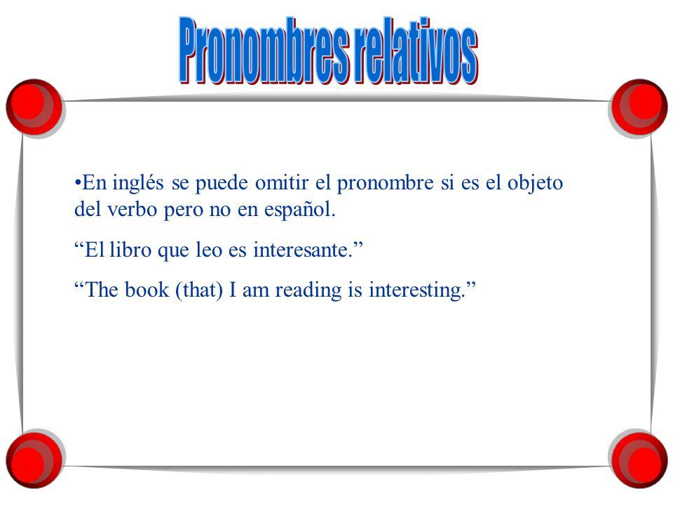 Los pronombres relativos se emplean para juntar dos partes de una frase. La frase introducida por el pronombre relativo es la cláusula relativa. El pr