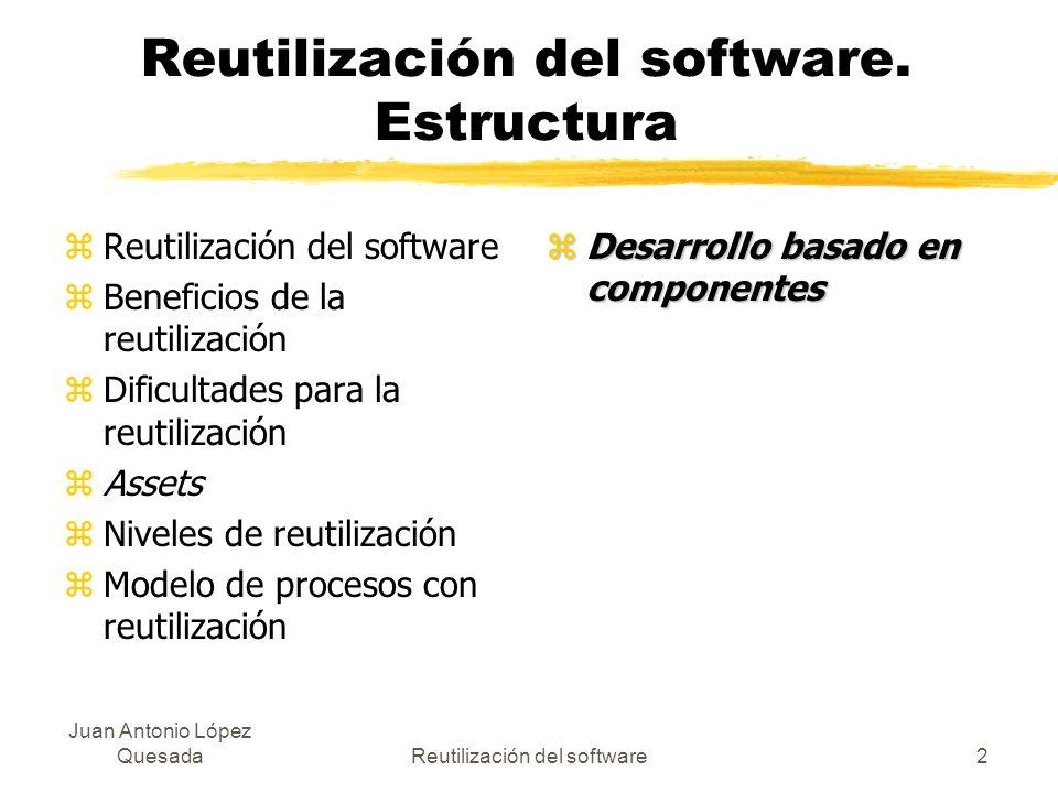 Juan Antonio López QuesadaReutilización del software2 Reutilización del software. Estructura zReutilización del software zBeneficios de la reutilizaci