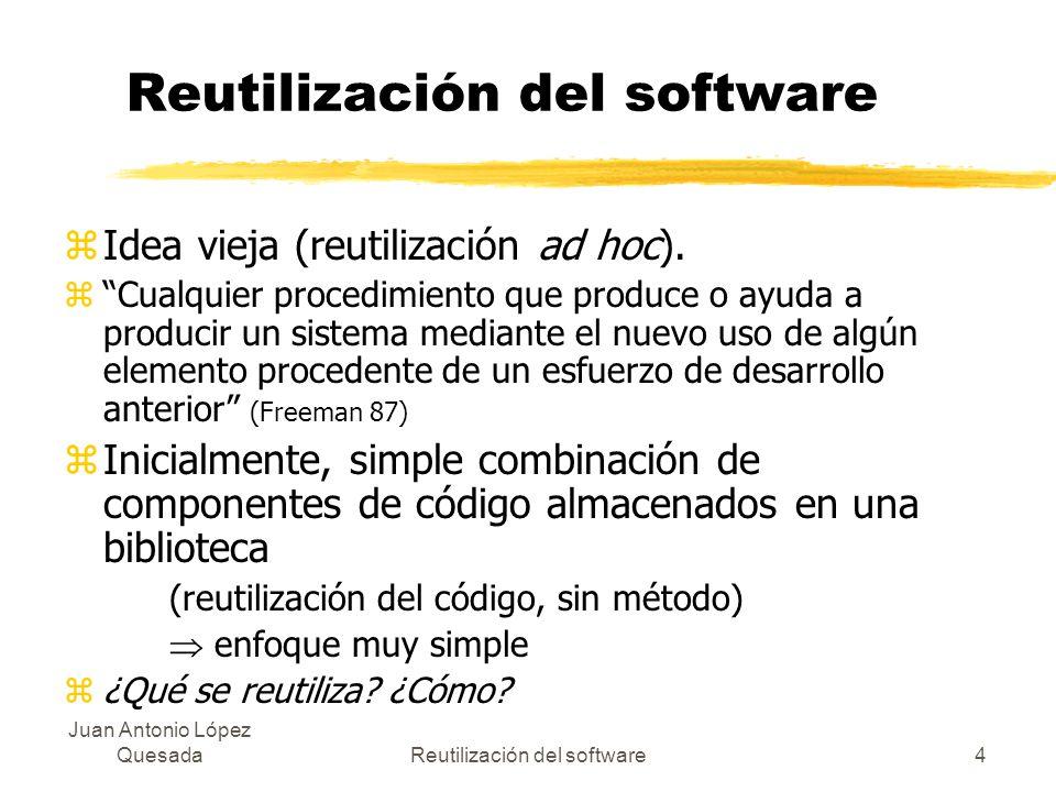 Juan Antonio López QuesadaReutilización del software4 zIdea vieja (reutilización ad hoc). zCualquier procedimiento que produce o ayuda a producir un s