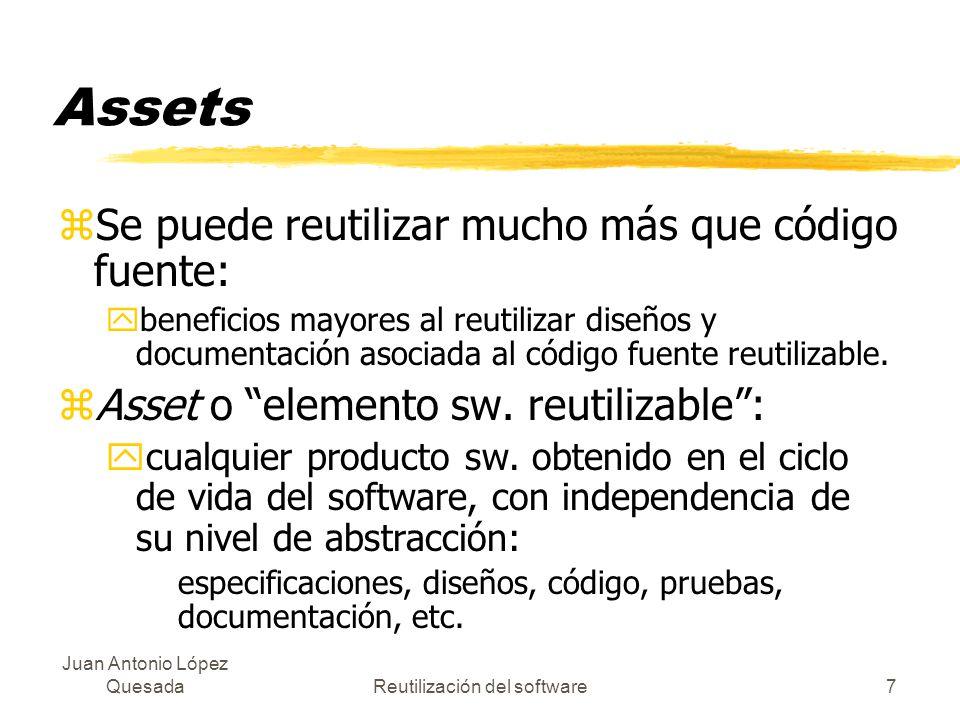 Juan Antonio López QuesadaReutilización del software7 Assets zSe puede reutilizar mucho más que código fuente: ybeneficios mayores al reutilizar diseñ
