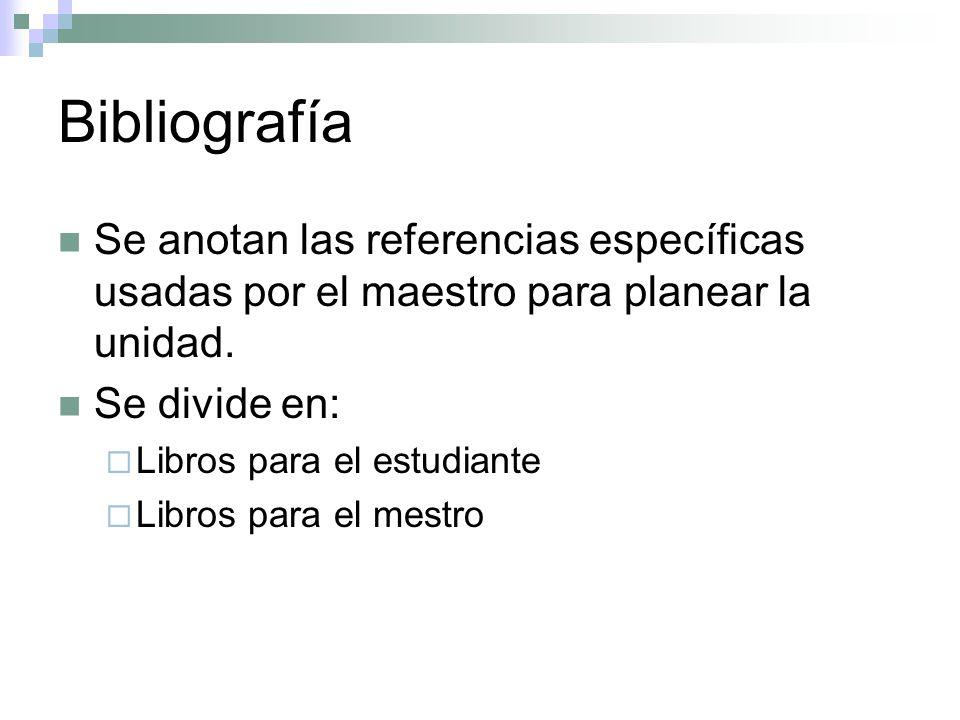 Bibliografía Se anotan las referencias específicas usadas por el maestro para planear la unidad. Se divide en: Libros para el estudiante Libros para e