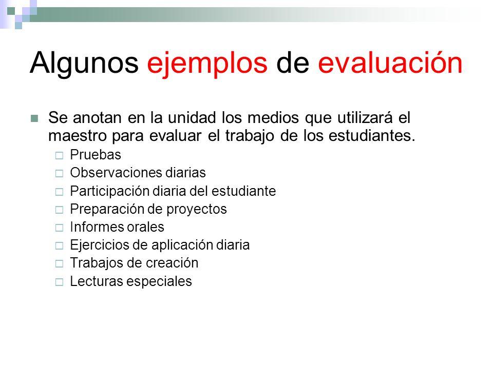 Algunos ejemplos de evaluación Se anotan en la unidad los medios que utilizará el maestro para evaluar el trabajo de los estudiantes. Pruebas Observac