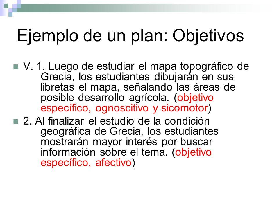 Ejemplo de un plan: Objetivos V. 1. Luego de estudiar el mapa topográfico de Grecia, los estudiantes dibujarán en sus libretas el mapa, señalando las