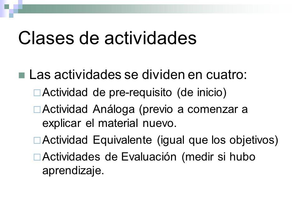 Clases de actividades Las actividades se dividen en cuatro: Actividad de pre-requisito (de inicio) Actividad Análoga (previo a comenzar a explicar el