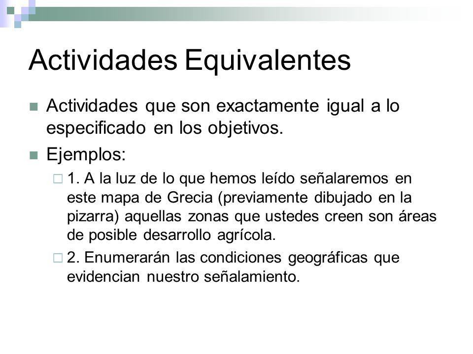 Actividades Equivalentes Actividades que son exactamente igual a lo especificado en los objetivos. Ejemplos: 1. A la luz de lo que hemos leído señalar