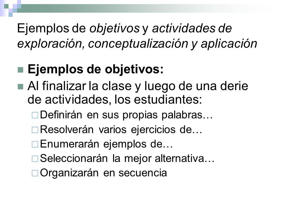 Ejemplos de objetivos y actividades de exploración, conceptualización y aplicación Ejemplos de objetivos: Al finalizar la clase y luego de una derie d