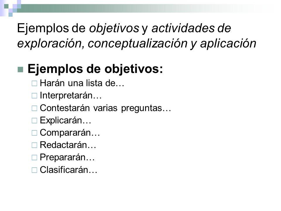 Ejemplos de objetivos y actividades de exploración, conceptualización y aplicación Ejemplos de objetivos: Harán una lista de… Interpretarán… Contestar