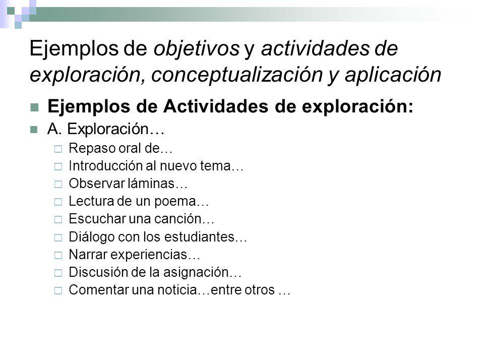 Ejemplos de objetivos y actividades de exploración, conceptualización y aplicación Ejemplos de Actividades de exploración: A. Exploración… Repaso oral
