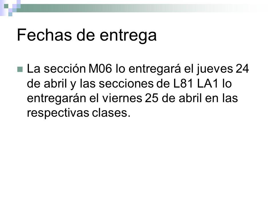 Fechas de entrega La sección M06 lo entregará el jueves 24 de abril y las secciones de L81 LA1 lo entregarán el viernes 25 de abril en las respectivas