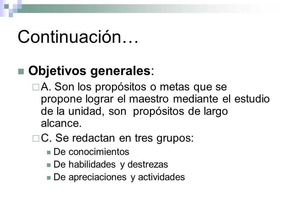 Continuación… Objetivos específicos : A.