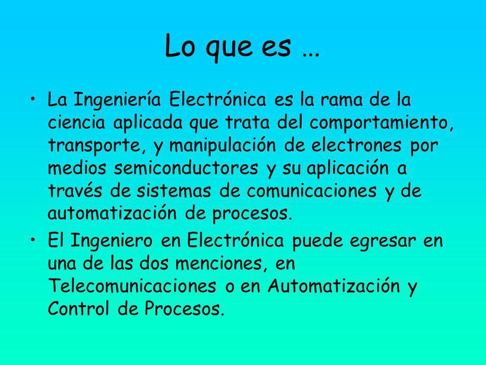 Lo que es … La Ingeniería Electrónica es la rama de la ciencia aplicada que trata del comportamiento, transporte, y manipulación de electrones por medios semiconductores y su aplicación a través de sistemas de comunicaciones y de automatización de procesos.