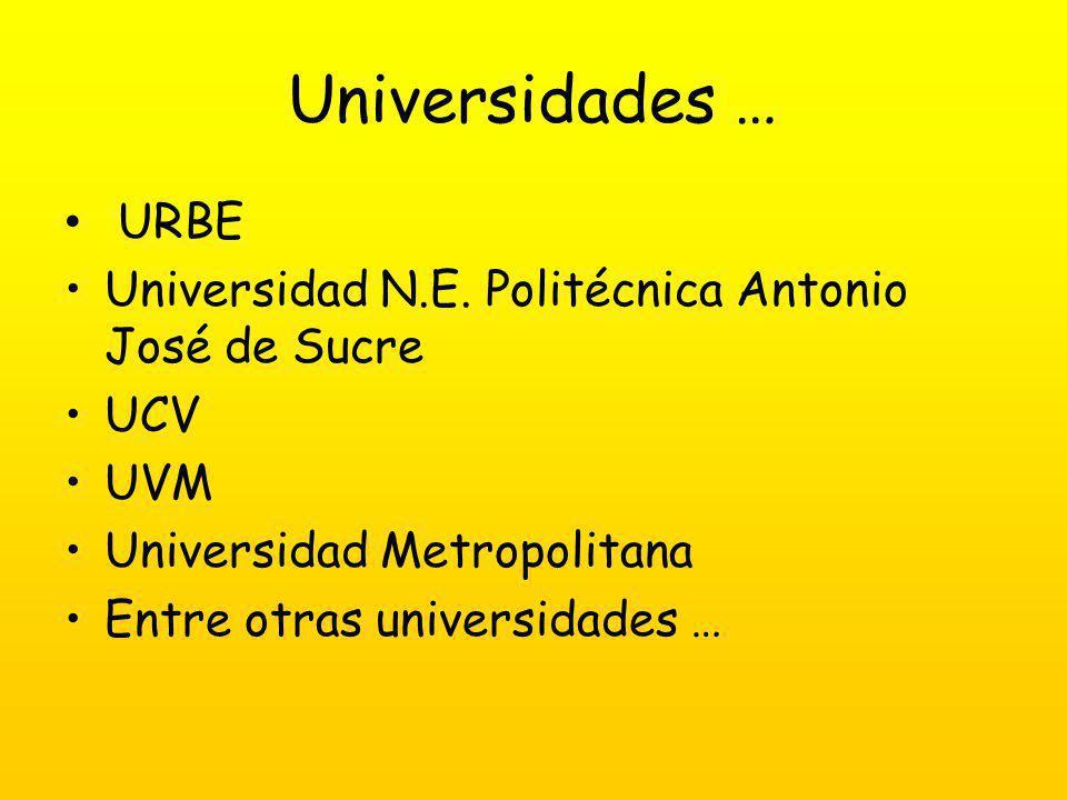Universidades … URBE Universidad N.E.