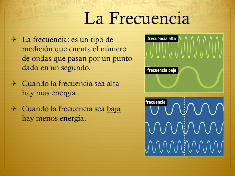 La Frecuencia La frecuencia: es un tipo de medición que cuenta el número de ondas que pasan por un punto dado en un segundo. Cuando la frecuencia sea
