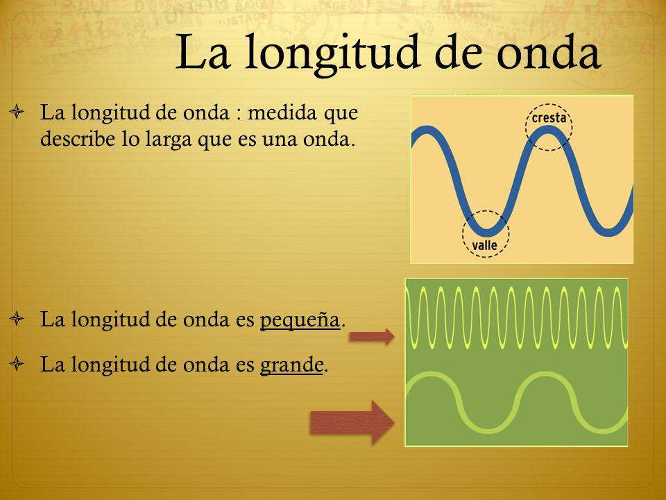 La longitud de onda La longitud de onda : medida que describe lo larga que es una onda. La longitud de onda es pequeña. La longitud de onda es grande.