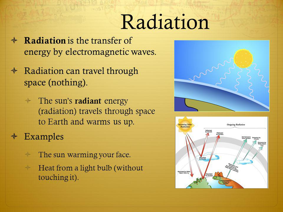 Radiation Radiation is the transfer of energy by electromagnetic waves. Radiation can travel through space (nothing). The suns radiant energy (radiati