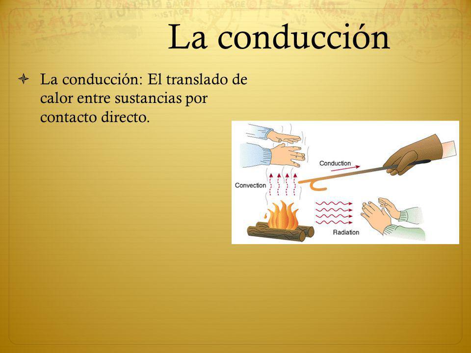 La conducción La conducción: El translado de calor entre sustancias por contacto directo.