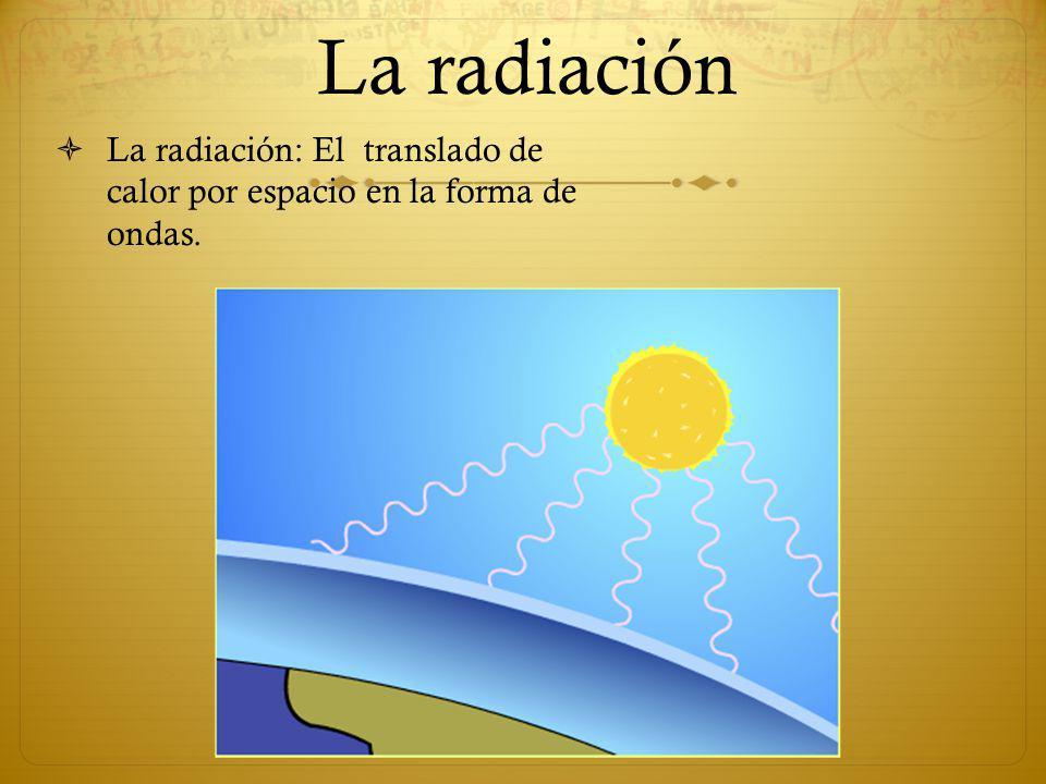 La radiación La radiación: El translado de calor por espacio en la forma de ondas.