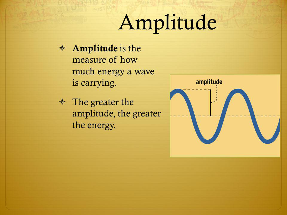 Amplitude Amplitude is the measure of how much energy a wave is carrying. The greater the amplitude, the greater the energy.