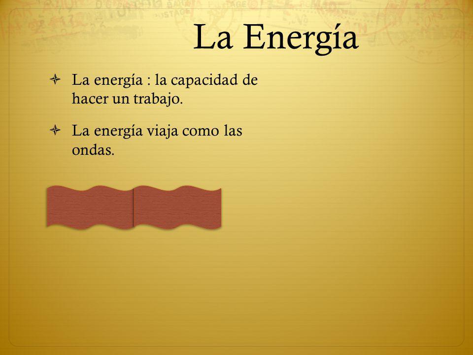 La Energía La energía : la capacidad de hacer un trabajo. La energía viaja como las ondas.
