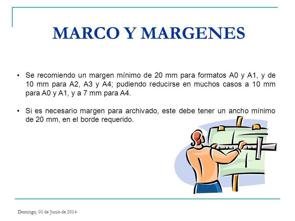 MARCO Y MARGENES Se recomiendo un margen mínimo de 20 mm para formatos A0 y A1, y de 10 mm para A2, A3 y A4; pudiendo reducirse en muchos casos a 10 m