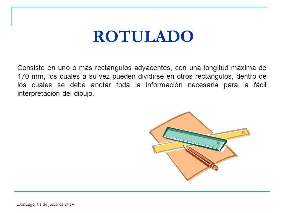 ROTULADO Consiste en uno o más rectángulos adyacentes, con una longitud máxima de 170 mm, los cuales a su vez pueden dividirse en otros rectángulos, d
