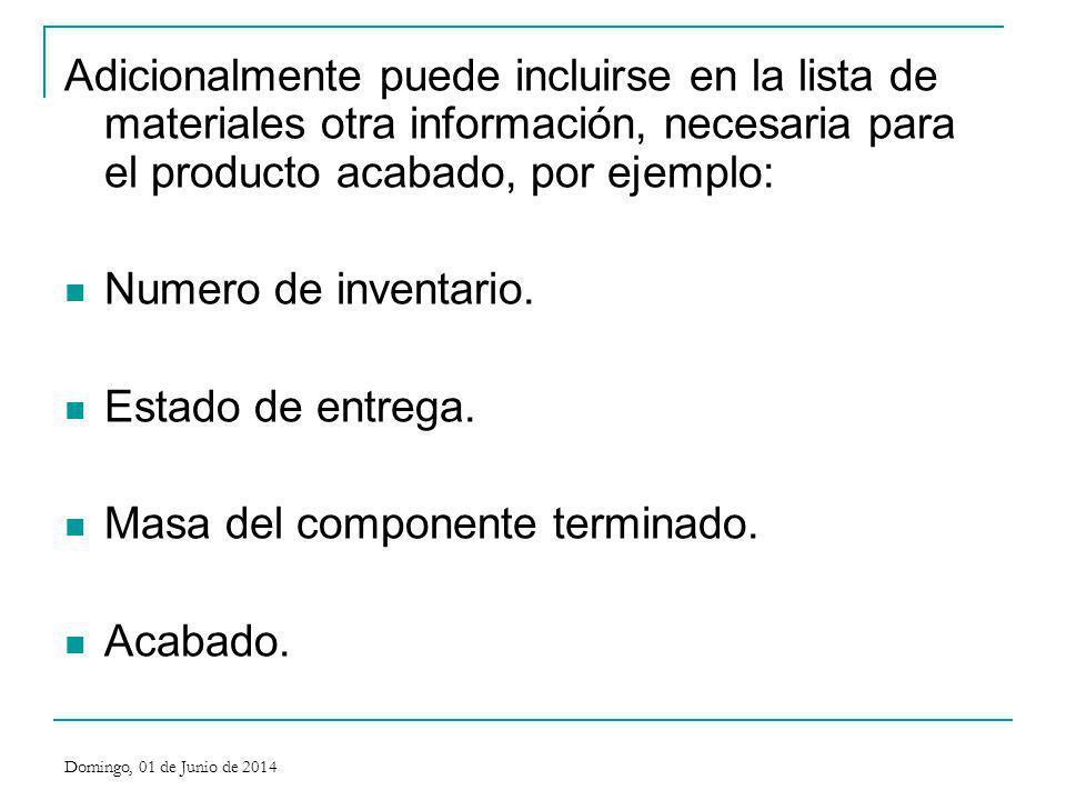 Adicionalmente puede incluirse en la lista de materiales otra información, necesaria para el producto acabado, por ejemplo: Numero de inventario. Esta