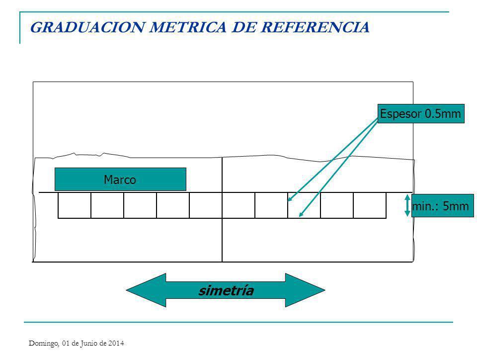 GRADUACION METRICA DE REFERENCIA simetría min.: 5mm Espesor 0.5mm Marco Domingo, 01 de Junio de 2014