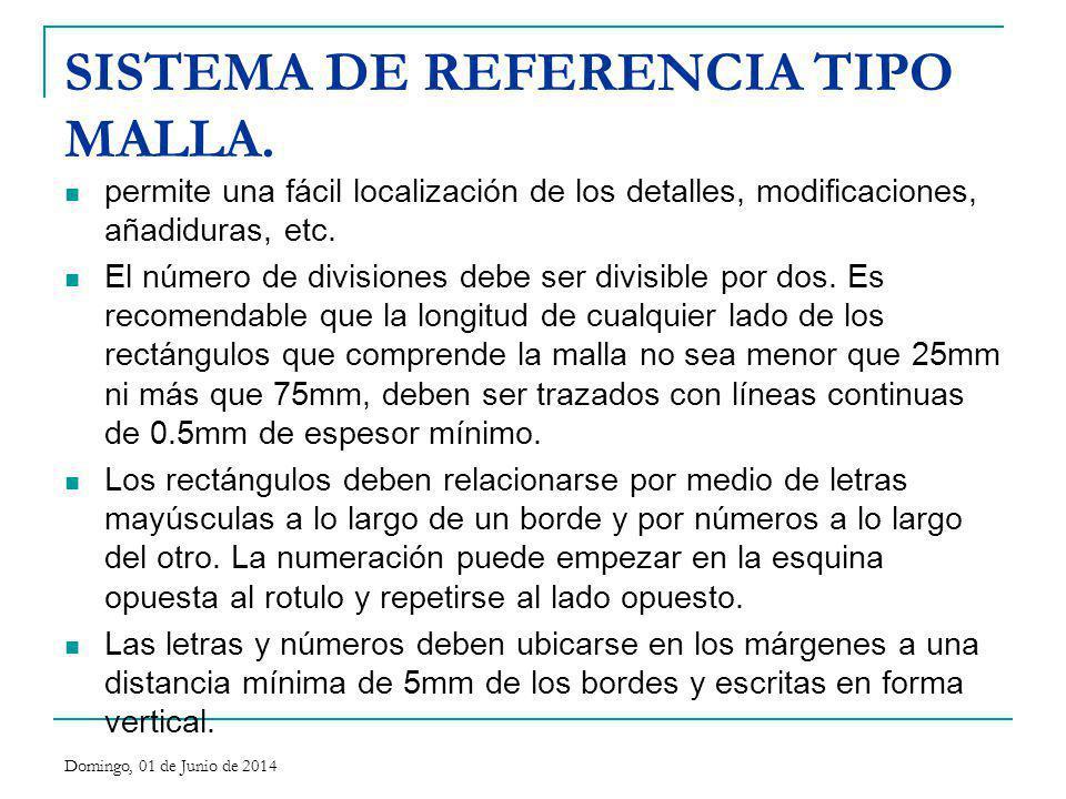 SISTEMA DE REFERENCIA TIPO MALLA. permite una fácil localización de los detalles, modificaciones, añadiduras, etc. El número de divisiones debe ser di