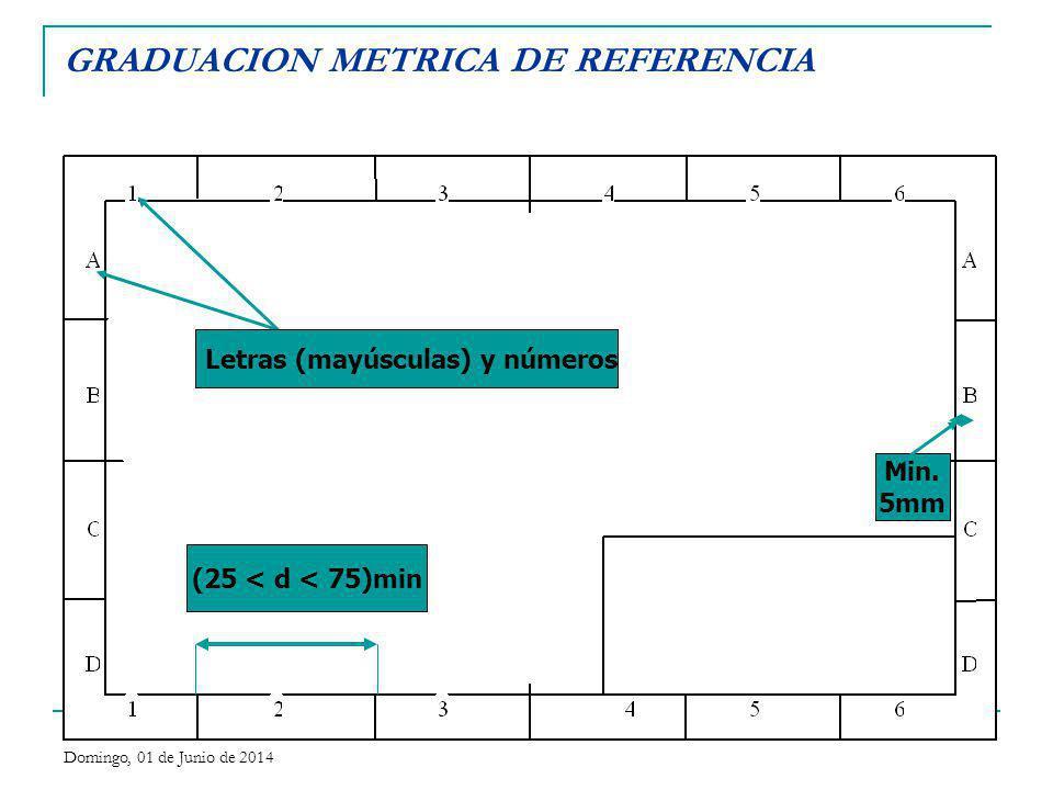 GRADUACION METRICA DE REFERENCIA (25 < d < 75)min Letras (mayúsculas) y números Min. 5mm Domingo, 01 de Junio de 2014