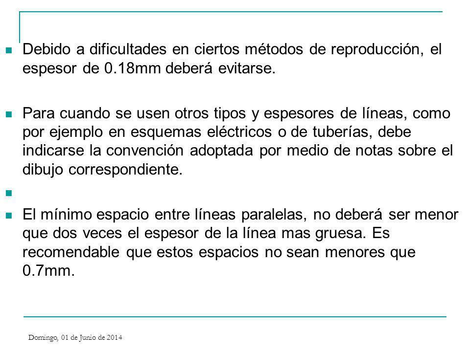 Debido a dificultades en ciertos métodos de reproducción, el espesor de 0.18mm deberá evitarse. Para cuando se usen otros tipos y espesores de líneas,