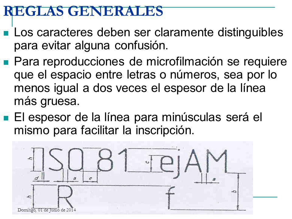 REGLAS GENERALES Los caracteres deben ser claramente distinguibles para evitar alguna confusión. Para reproducciones de microfilmación se requiere que