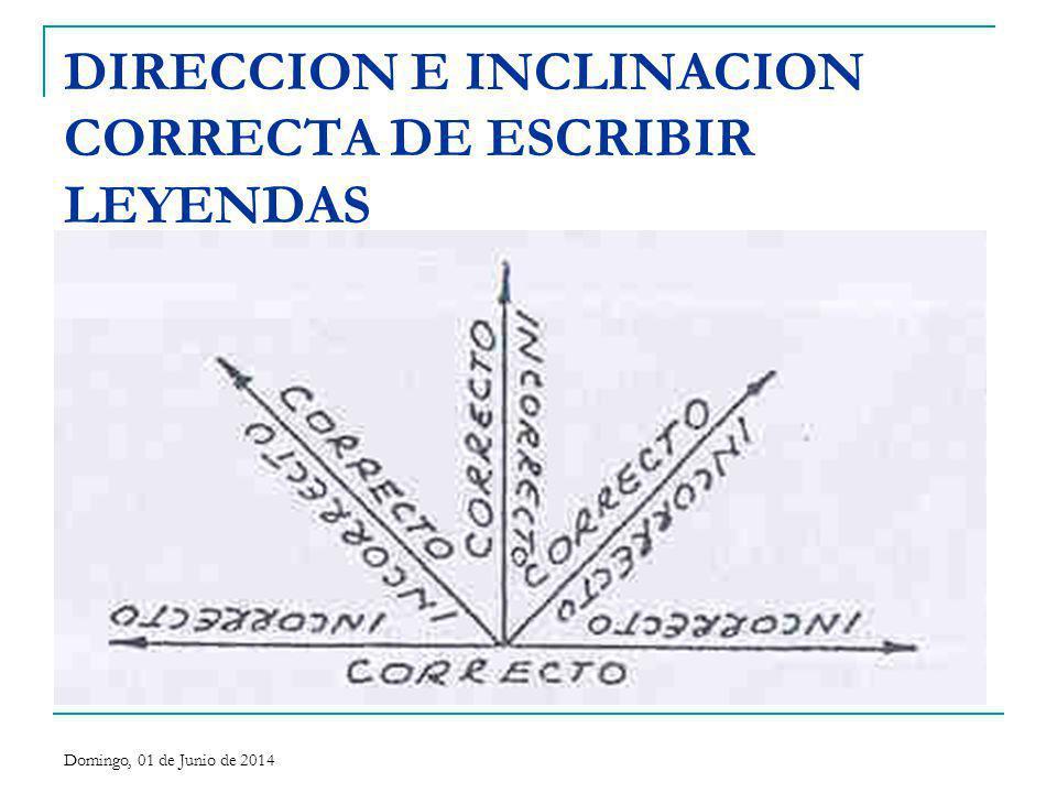 DIRECCION E INCLINACION CORRECTA DE ESCRIBIR LEYENDAS Domingo, 01 de Junio de 2014