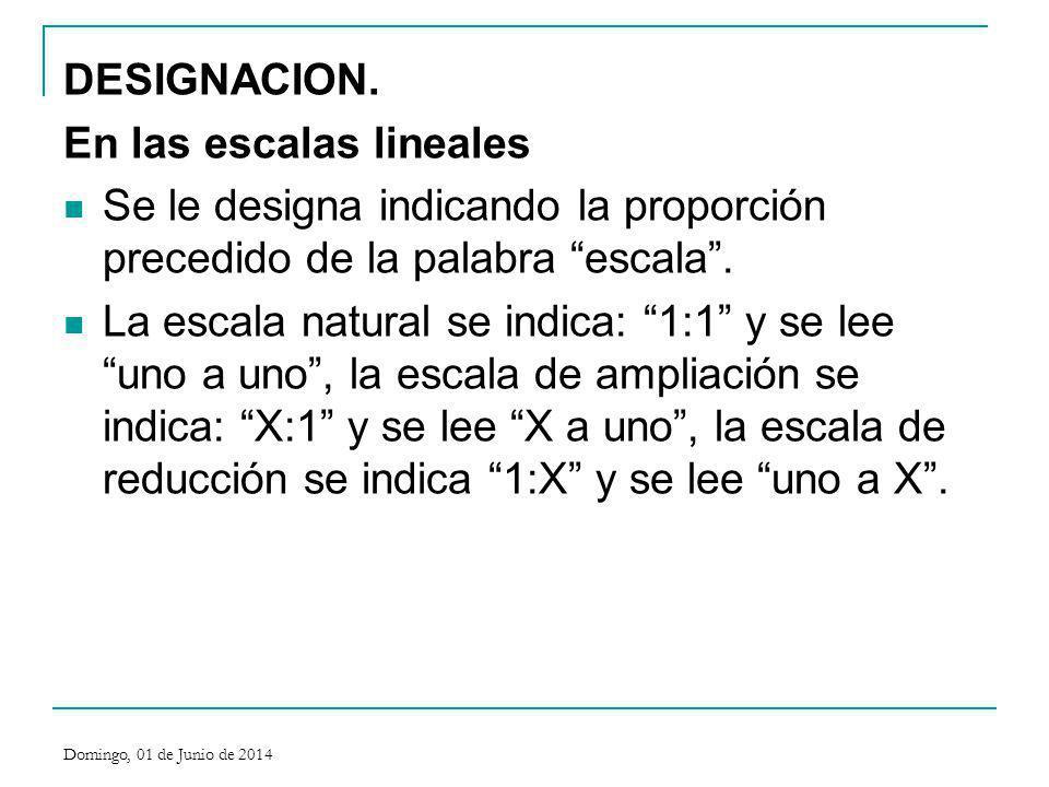 DESIGNACION. En las escalas lineales Se le designa indicando la proporción precedido de la palabra escala. La escala natural se indica: 1:1 y se lee u